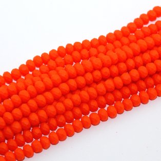 Broušené matné korálky - razivě oranžové - 6 x 5 mm - 10 ks