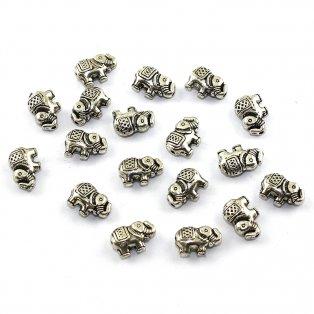 Kovový korálek - starostříbrný - slon - 8,5 x 12 x 4 mm - 1 ks