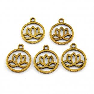 Lotosový květ - zlatý - 24 x 20 x 2 mm - 1 ks