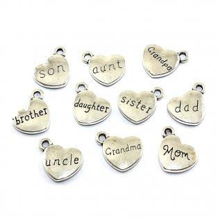 Přívěsek srdce - člen rodiny - starostříbrný - 13 x 15 x 3 mm - 1 ks