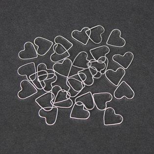 Mosazné srdce - stříbrné - 13.5 x 12 x 1 mm - 1 ks