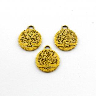Strom života - zlatý - 28 x 24 x 2 mm - 1 ks