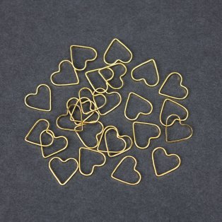 Mosazné srdce - zlaté - 13.5 x 12 x 1 mm - 1 ks