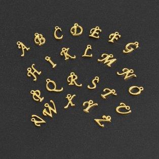 Kovový přívěsek - písmeno A-Z - zlaté - cca 14 x 6 x 2 mm - 1 ks