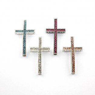 Kříž s bižuterními kamínky - stříbrný - 47,5 x 25 x 4 mm - 1 ks