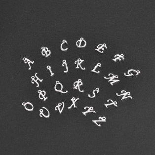 Přívěsek písmeno - stříbrné - cca 14 x 6 x 2 mm - 1 ks