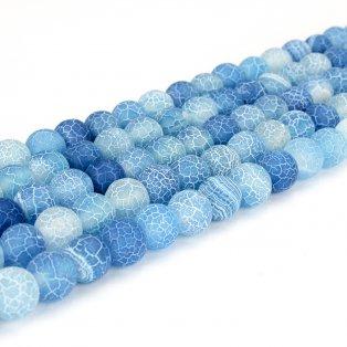 Přírodní ledový achát - modrý - ∅ 6 mm - 1 ks
