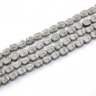 Buddha hematitový (pokovený) - 8 x 7 x 4 mm - platinová - 1 ks