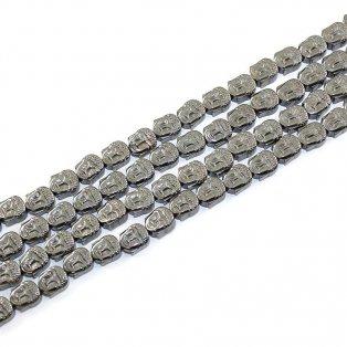 Buddha hematitový (pokovený) - 8 x 7 x 4 mm - ocelově šedý - 1 ks
