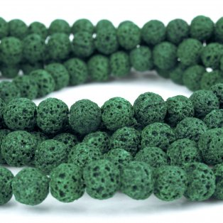 Přírodní lávové korálky - tmavě zelené - ∅ 8 mm - 10 ks
