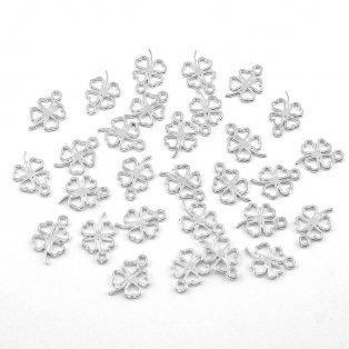 Čtyřlístek - stříbrný - 10 x 6 x 1 mm - 1 ks
