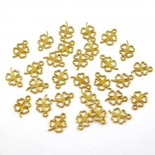 Čtyřlístek - zlatý - 17 x 12 x 1 mm - 1 ks