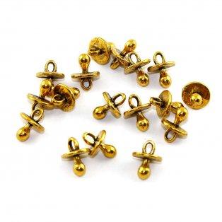 Kovový přívěsek - zlatý - dudlík - 13 x 13 x 10 mm - 1 ks
