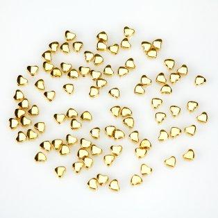 Kovové srdíčko - zlaté - 5 x 6 x 3 mm - 1 ks
