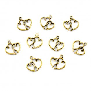 Srdce - zlaté - 20 x 19 x 2 mm - 1 ks