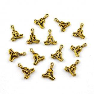 Tibetský přívěšek - zlatý - 20 x 16 x 3,5 mm - 1 ks