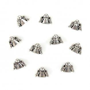 Anděl s širokým průvlekem - stříbrný - 11 x 13 x 9 mm - 1 ks