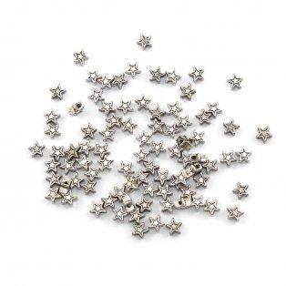 Kovový korálek - hvězda - starostříbrný - 5 x 5 x 5 mm - 1 ks