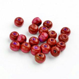Dřevěné korálky - červené - ∅ 6 mm - 10 ks