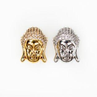 Mosazný buddha se zirkony - různá provedení - 18 x 13 x 11 mm - 1 ks