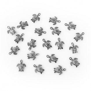 Želvička - stříbrná - 16 x 12 x 3 mm - 1 ks