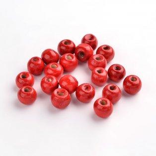 Dřevěné korálky - červené - ∅ 8 mm - 5 g / cca 40 ks