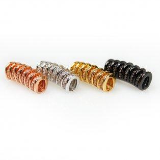 Mosazná trubička s kubickými zirkony - různá provedení - 22 x 8 x 10 mm - 1 ks