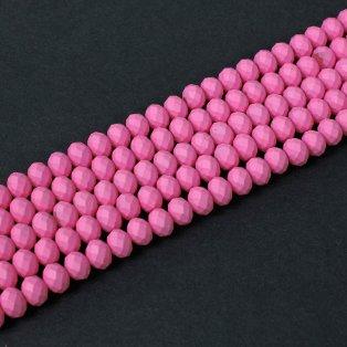 Broušené matné korálky - pastelově růžové - 8 x 6 mm - 10 ks