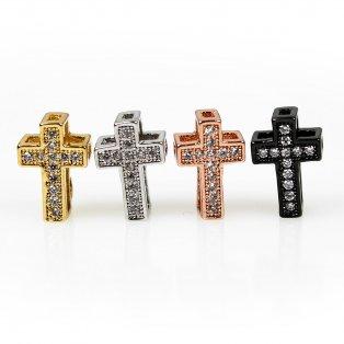 Mosazný kříž s kubickými zirkony - různá provedení - 11 x 7,5 x 5 mm - 1 ks
