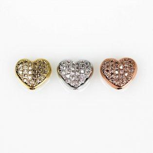 Mosazné srdce s kubickými zirkony - různá provedení - 8 x 9 x 5 mm - 1 ks