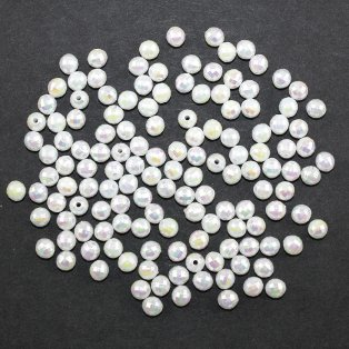 Akrylové korálky broušené - bílé - ∅ 6 mm - 10 ks