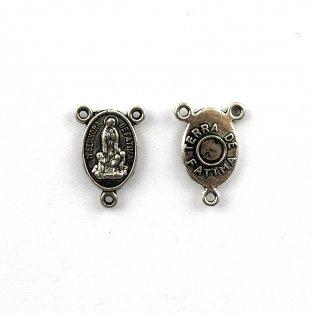 Mezidíl pro růženec - stříbrný - 18 x 12 x 3 mm - 1 ks