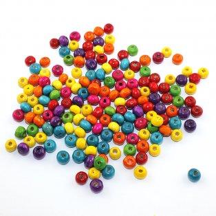 Dřevěné korálky - mix barev - ∅ 6 mm - 10 ks