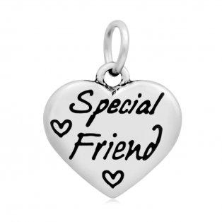"""Přívěsek z nerezové oceli - """"special friend"""" - 16,5 x 17 x 3,5 mm - 1 ks"""