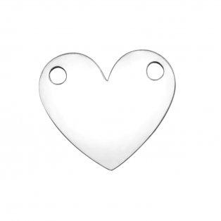 Mezidíl z nerezové oceli - srdce - 10,8 x 12,8 x 1 mm - 1 ks