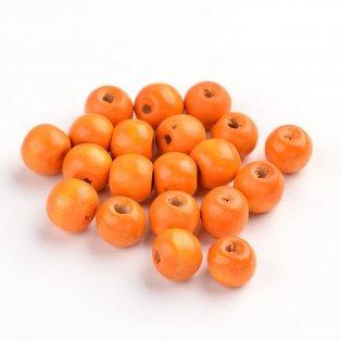 Dřevěné korálky - oranžové - ∅ 8 mm - 5 g / cca 29 ks