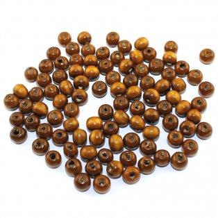 Dřevěné korálky - tmavě hnědé - ∅ 8 mm - 10 ks