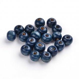 Dřevěné korálky - tmavě modré - ∅ 8 mm - 10 ks