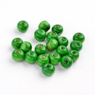 Dřevěné korálky - tmavě zelené - ∅ 6 mm - 10 ks