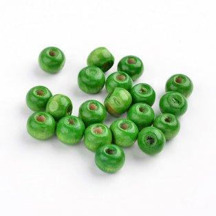 Dřevěné korálky - tmavě zelené - ∅ 8 mm - 5 g / cca 52 ks