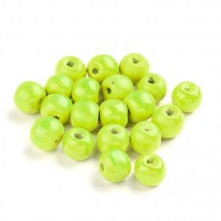 Dřevěné korálky - světle zelené - ∅ 8 mm - 5 g / cca 29 ks