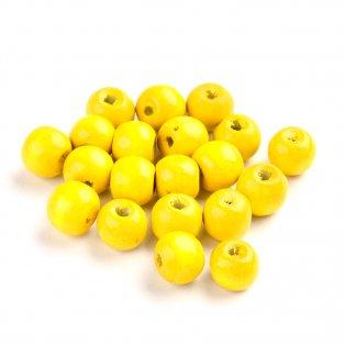 Dřevěné korálky - žluté - ∅ 8 mm - 5 g / cca 32 ks
