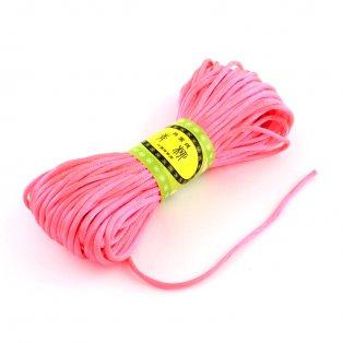 Saténová šňůra - neonově korálová - ∅ 2 mm - 20 m - 1 ks