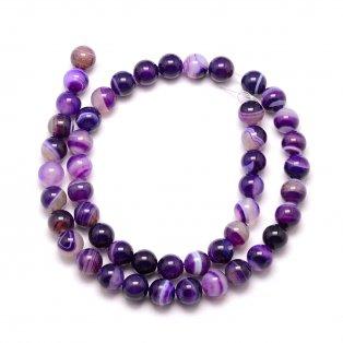 Přírodní pruhovaný achát - fialový - ∅ 6 mm - 1 ks