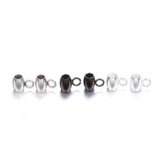 Korálek z nerezové oceli s očkem - různá provedení - 5 x 7 x 4 mm - 1 ks
