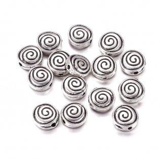 Kovový oddělovací korálek - starostříbrný - spirála - 8 x 8 x 4 mm - 1 ks