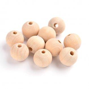 Dřevěné surové korálky - ∅ 16 mm - 10 ks