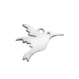Přívěsek z nerezové oceli - platinový - kolibřík - 15 x 18 x 1,5 mm - 1 ks