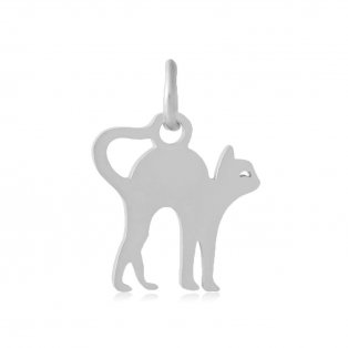 Přívěsek z nerezové oceli - kočka - 12 x 12 x 1 mm - 1 ks
