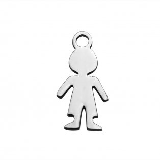 Přívěsek z nerezové oceli - silueta chlapečka - 14 x 7 x 1 mm - 1 ks